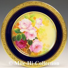"""Limoges France Hand Painted Roses Etched Gold Flowers Charger   eBay Beautifully hand painted roses with heavy etched gold floral ground.  Almost 10"""" diameter. William Guerin, Limoges France (late 1890s+)  I have a weakness for anything cobalt :)"""