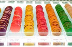 Ruelo Patisserie (4 Erskine Avenue) offers macarons in specialty flavours such as wasabi and grapefruit, balsamic vinegar, and black truffle