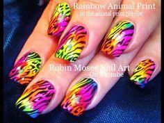 Nail Art Tutorial | DIY Easy Rainbow Animal Print Nail Design - YouTube