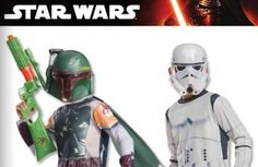 Boba Fett: Mask and jumpsuit with cape and shoe covers. Child sizes: S, M & L  Stormtrooper: Mask and jumpsuit with boot tops. ​Child sizes: S, M & L