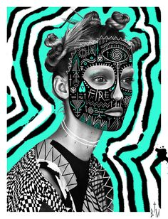 The Black Math Draws Intricate And Mysterious Symbols Over The Faces Of Beautiful PeopleTBMxTheresAlexandersson
