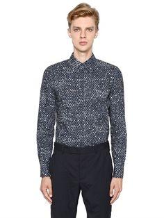 Dot Printed Cotton Poplin Shirt