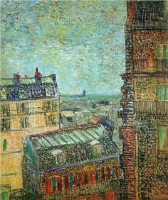 View of Paris from Vincent's Room in the Rue Lepic - Vincent van Gogh, 1887. Gallery: Van Gogh Museum, Amsterdam, Netherlands #vangogh