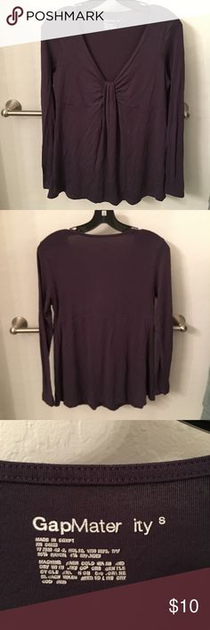 GAP Maternity Empire Waist Top GAP Maternity Top in plum. Fabric is rayon and spandex and super comfortable and stretchy. Empire waist.  *items are wrinkled because they have been in boxes in air-conditioned storage. Non-smoking household.* GAP Other