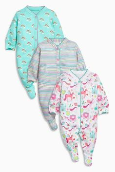 Buy Multi Unicorn Sleepsuits Three Pack (0mths-2yrs) from the Next UK online shop