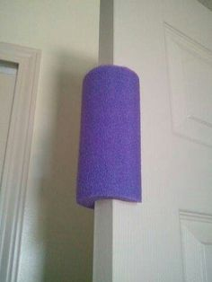 Pool noodle as door stopper.