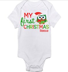 My 1st Christmas Personalized Bodysuit  My First by BerryBestTees