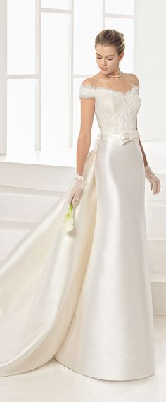 Graceful Tulle & Satin Off-the-shoulder Neckline Sheath/Column Wedding Dress With Beaded Lace Appliques & Detachable Train