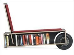 Easy Reader ~ Portable Mobile Bookshelf designed by Nils Holger Moormann. Its designed for sitting, reading, loading, reflecting and relaxing, and probably has other uses yet to be discovered. The Easy Reader balances itself on one wheel, giving the effect of an old-school cart, so you can load your books onto the bookshelf and roll it anywhere.