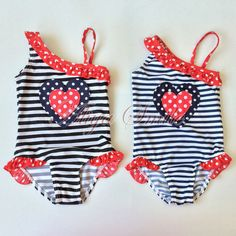 "Girls Heart Polka Dots Striped Swimsuit Kid Bathing Suit Swimming Costume SZ 2-8 **************************************** בגד ים שלם לבנות מגיל 2-8, לבחירה מתוך 2 דגמים. רק ב 42 ש""ח כולל משלוח."