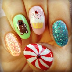My Christmas Candyland nails by Marie (right)