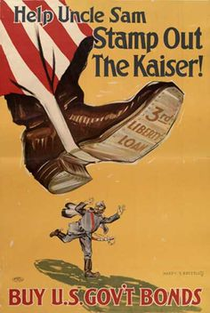 WWI propaganda poster - Help Uncle Sam Stamp Out the Kaiser Ww1 Propaganda Posters, Remember The Fallen, World War One, World History, Wwi, Vintage Posters, Tumblr, Cover, Advertising Ads