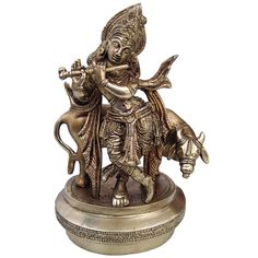 Lord Krishna with Cow Statue Handmade Brass Sculpture Gifts