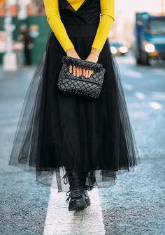 Dress: tumblr maxi long tutu tulle black bag black bag top yellow yellow top boots biker boots black