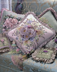 Peony Rose and Viola Cushion by Helen Eriksson