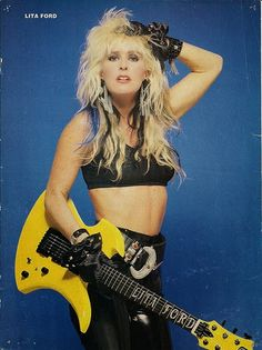 All about Lita Ford! Lita Rossana Ford is an American rock guitarist, vocalist, and songwriter, who was the lead guitarist for The Runaways in the late before embarking on a solo career in the. Chica Heavy Metal, Heavy Metal Girl, Heavy Metal Bands, Lita Ford, Female Guitarist, Female Singers, Janis Joplin, Music Girl, 80s Music