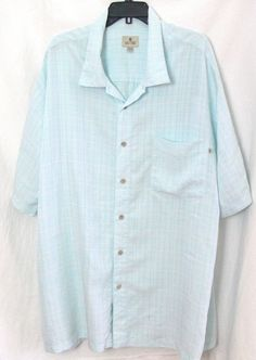 Men's Solitude Button Front Short Sleeve Light  Blue Shirt Size XLT #Solitude #ButtonFront