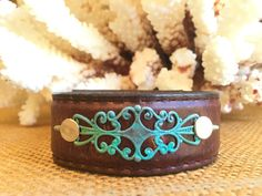 Vintage Leather Cuff Bracelet with Turquoise by PunchVintage
