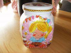 Pot beplakt met servetten: blond amsterdam