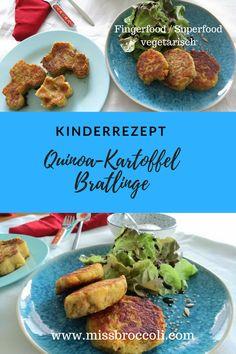 Quinoa-Kartoffel-Bratlinge für kleine Kinder oder die ganze Familie. #vegetarisch #veggie #fingerfood #bratling #burger #quinoa #kartoffel #rezept #kinderrezept #kindermenu #kochen #superfood #essbeginner