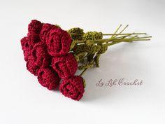 Romance Rose Bouquet: for home decor, gift, wedding bouquet, party decor, decoration,  etc. by LaLehCrochet on Etsy