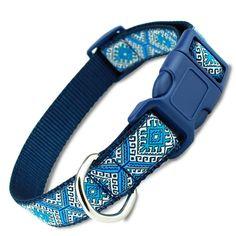 Blue Aztec Dog Collar, tribal, Greek key design with Quick Release Buckle Plaid Dog Collars, Puppy Collars, Orange Design, Blue Design, Key Design, Douglas Tartan, Martingale Dog Collar, Thing 1, Collar Designs