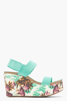 Pedro garcia Turquoise Suede Floral Dakota Wedge Sandals in Green ...