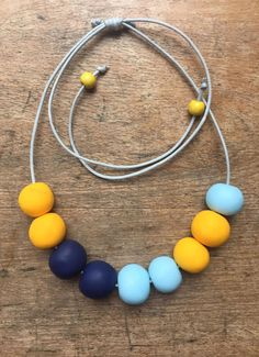 Clay bead necklace clay necklace statement necklace yellow