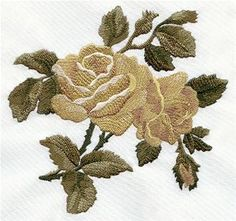 Embroidery Roses Machine Embroidery Designs at Embroidery Library! Wedding Embroidery, Rose Embroidery, Embroidery Hoop Art, Embroidery Stitches, Embroidery Ideas, Hand Embroidery Tutorial, Machine Embroidery Patterns, Chinese Embroidery, Embroidery Techniques