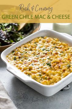 This creamy green chile macaroni cheese with mild cheddar and Monterey jack cheese starts on the stovetop and finishes under the broiler and is the best kind of cold weather comfort food.