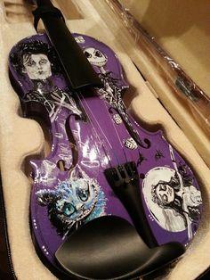Tim Burton Inspired Hand Painted Violin ft. Edward Scissorhands, Cheshire Cat, Jack Skellington & Corpse Bride