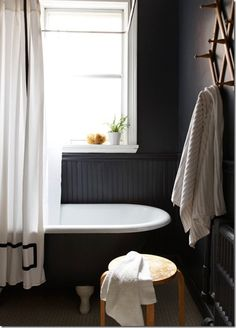 10 Sublime Unique Ideas: Wainscoting Stairs Modern types of wainscoting traditional bathroom.Wainscoting Mirror Light Fixtures wainscoting hallway old houses.Victorian Wainscoting Home. Dark Bathrooms, White Bathroom, Beautiful Bathrooms, Charcoal Bathroom, White Shower, Bathroom Sinks, Bathroom Ideas, Wainscoting Hallway, Painted Wainscoting