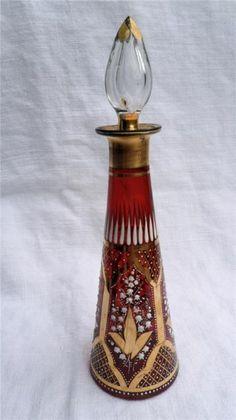 Antique French Cranberry Glass Enamel Scent Perfume Bottle C1880   eBay