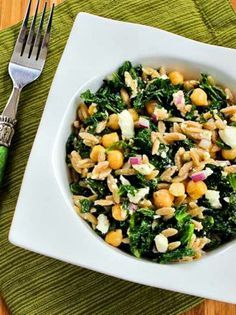 This is a delicious healthful salad with whole wheat orzo, kale, chickpeas, lemon, and Feta. You could use brown rice or quinoa for a gluten-free version of this tasty salad that's meatless, low-glycemic, and South Beach Diet Phase Two. Use theRecipes-by-Diet-Type Indexto find more recipes like this one. A few years ago I discovered 100% … #wholewheatpastarecipefeta