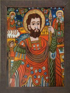 Sf Mina Religious Icons, Religious Art, Orthodox Icons, Sacred Art, Christian Art, Egyptian, Postcards, Folk Art, Primitive
