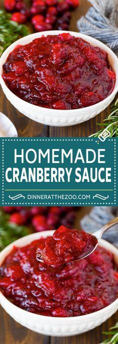 This homemade cranberry sauce is a 6 ingredient recipe that's made with fresh cranberries, sugar and a hint of spice. 6 Ingredient Recipe, Fresh Cranberries, Cranberry Sauce, Chili, Spices, Soup, Homemade, Dips, Recipes