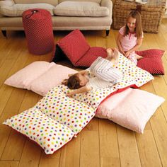 Five pillow cases sewn together and insert 5 pillows. Easy and fun. Cool for sleep overs. I've been resisting pinning this, but seeing as how the kids keep taking all the throw pillows to make beds. I think it's time.