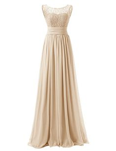 Dresstells Long Prom Dress Scoop Bridesmaid Dress Lace Chiffon Evening Gown at Amazon Women's Clothing store: