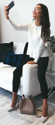 #spring #outfits White 'Easy Update Knit Top' + Black Skinny 'Best Foot Forward Pants'