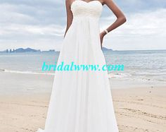 New Shop Promtion! Custom Made Sheath/Column Sweetheart Court Train Chiffon Wedding Dress Made to Measure Bridal Gown BG008