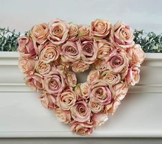 We love, love, LOVE this heart-shaped wreath! An antiqued look is oh-so charming, while realistic rose blooms have a romantic feel. Valentine Wreath, Valentine Decorations, Valentines, Antique Roses, Vintage Roses, Valerie Parr Hill, Realistic Rose, Blooming Rose, Heart Wreath