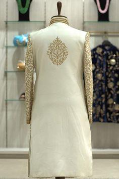 Buy Ivory White Dori Embroidered Raw Silk Wedding Sherwani Online | Samyakk Leather T Shirt, Lehenga, Saree, Wedding Sherwani, Ivory White, Dory, Wedding Styles, Japan, Sari