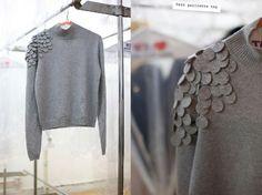 Renueva jersey! con unos simples círculos de fieltro ( tutorial, diy clothes,reciclar , idea, ropa , personalizar ropa, diy , fashion)