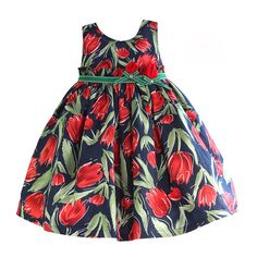 Check it on our site 3-7 Years Tulip Floral Girls Dress Ruffle Belt Navy Girls Clothes 100% Cotton Casual kids dresses for girl vestido infantil just only $16.71 with free shipping worldwide  #girlsclothing Plese click on picture to see our special price for you