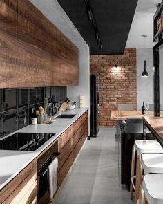 Amazing Luxury Kitchen Ideas - Expolore the best and the special ideas about Modern home design Modern Kitchen Interiors, Wood Interiors, Industrial Interiors, Interior Modern, Home Decor Kitchen, Interior Design Kitchen, Kitchen Ideas, Kitchen Inspiration, Kitchen Modern