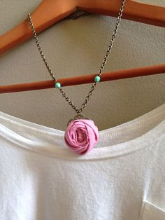 Flower Necklace  Dusty Rose Fabric Rosette by adieslovelies, $9.75