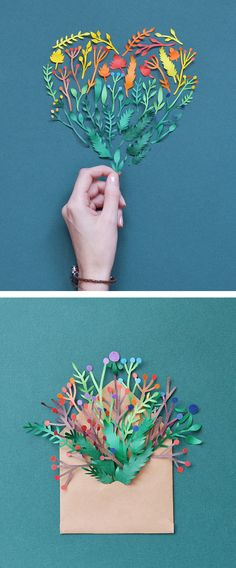Russian illustrator Margaret Scrinkl cuts many tiny rainbow color blooms that together, form spectacular pieces of larger paper art.
