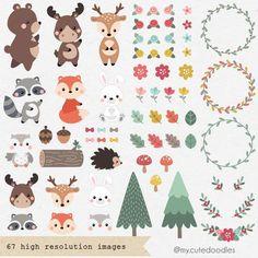 Woodland Animal Nursery, Woodland Animals, Woodland Party, Doodles Bonitos, Friends Clipart, Animal Doodles, Cute Clipart, Cute Doodles, Camping Crafts