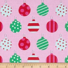 Michael Miller All the Trimmings Hang the Ornaments Candy from @fabricdotcom  From Michael Miller, this cotton print fabric is perfect for quilting, apparel and home decor accents. Colors include black, red, green, light blue, white, and shades of pink.
