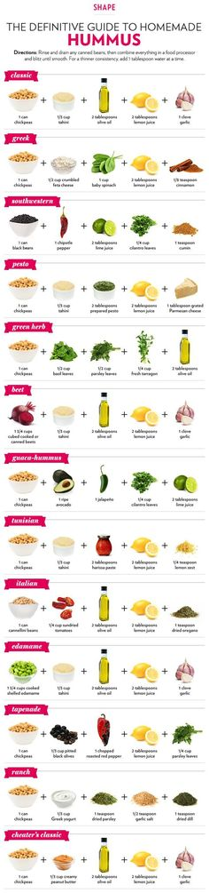 13 Different Ways to Make Hummus by Shape Magazine. Hummus is a healthy, delicious dip and super easy to make. Whip up a variety of flavors with this handy infographic of recipes for hummus Appetizer Recipes, Snack Recipes, Cooking Recipes, Avacado Appetizers, Prociutto Appetizers, Elegant Appetizers, Mexican Appetizers, Halloween Appetizers, Cooking Tips
